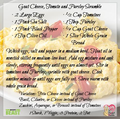 Goat Cheese Parsley and Tomato Scramble - Body Beast