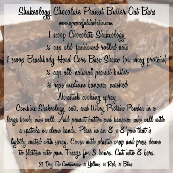 Shakeology Chocolate Peanut Butter Oat Bars